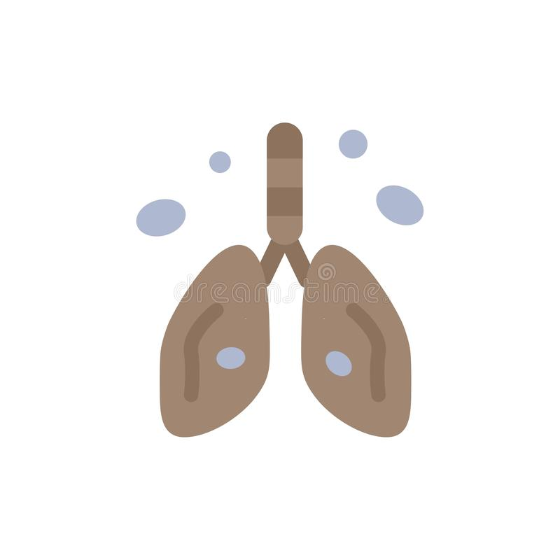 Pollution, Cancer, Heart, Lung, Organ  Flat Color Icon. Vector icon banner Template royalty free illustration