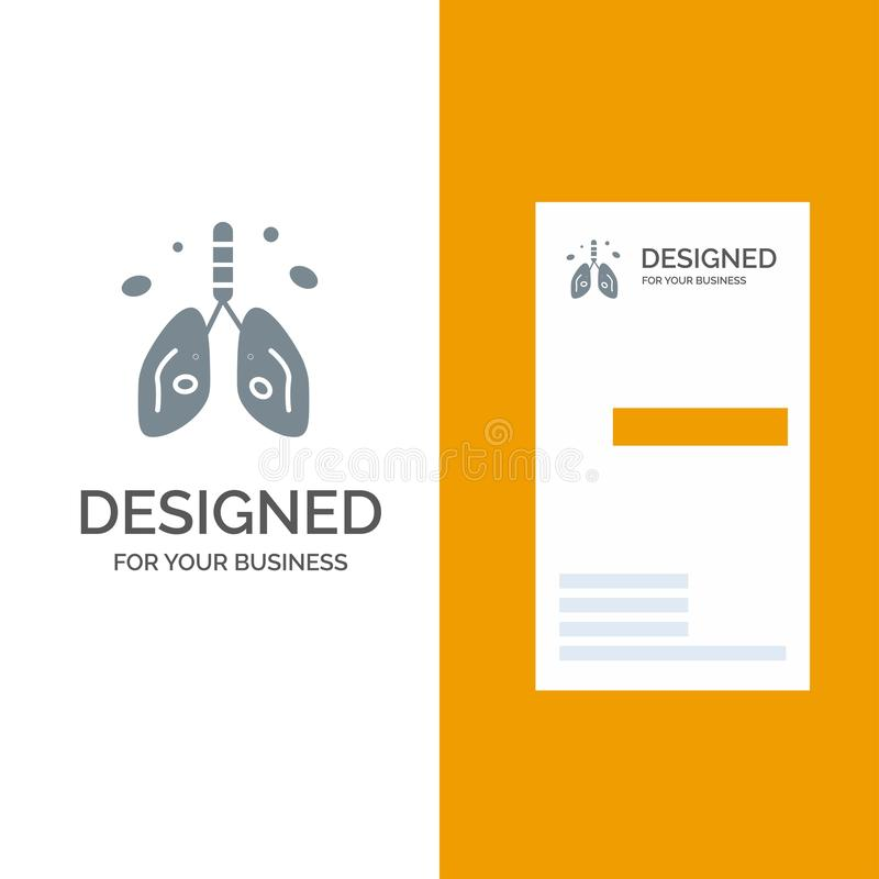Pollution, Cancer, Heart, Lung, Organ Grey Logo Design and Business Card Template vector illustration