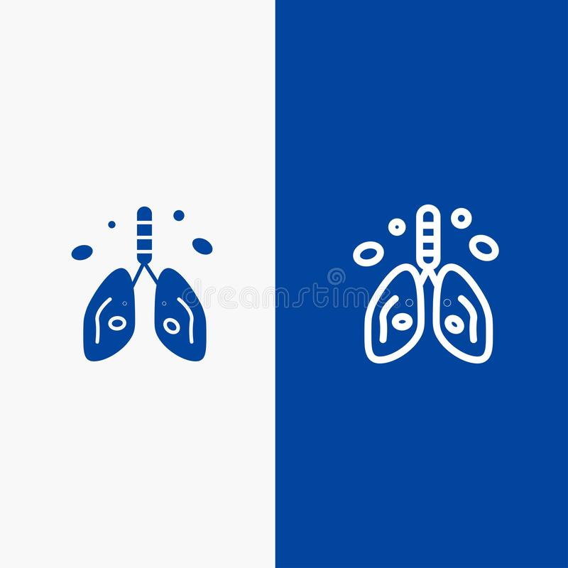 Pollution, Cancer, Heart, Lung, Organ Line and Glyph Solid icon Blue banner Line and Glyph Solid icon Blue banner vector illustration