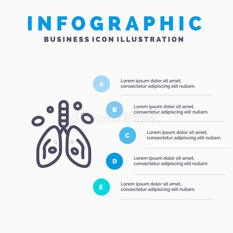 Pollution, Cancer, Heart, Lung, Organ Line icon with 5 steps presentation infographics Background vector illustration