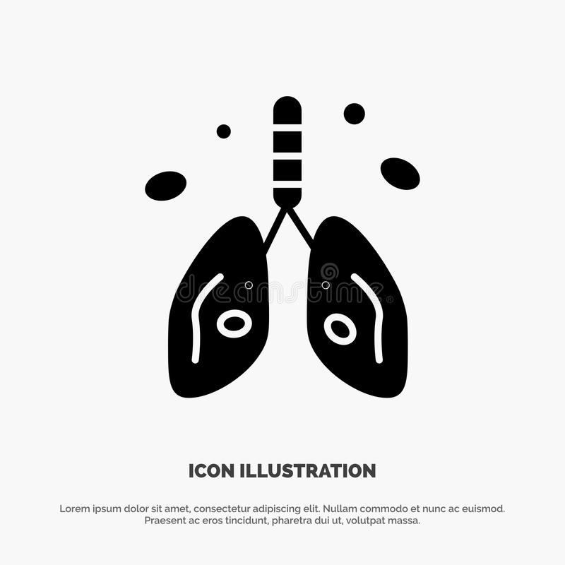 Pollution, Cancer, Heart, Lung, Organ solid Glyph Icon vector stock illustration