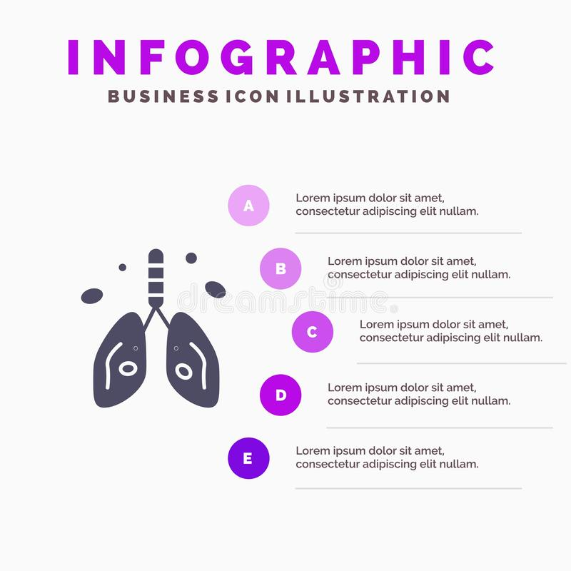 Pollution, Cancer, Heart, Lung, Organ Solid Icon Infographics 5 Steps Presentation Background stock illustration