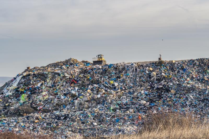 Pollution concept. Garbage pile in trash dump or landfill stock photography