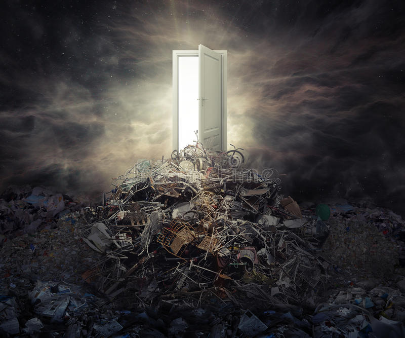 Pollution concept open door on top of mountain of garbage stock photography