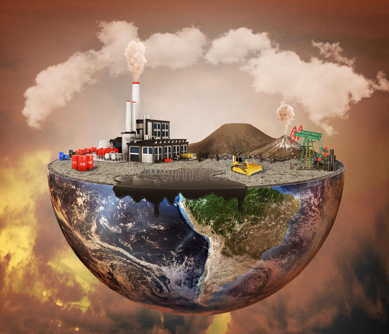 Pollution concept. Plant, machinery, petroleum, emissions, dirty air, landfill. Plant with vulcans and oil spot on the half of planet. Save the planet vector illustration