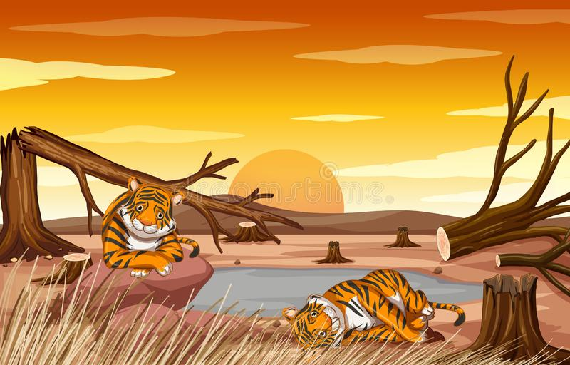 Pollution control scene with tigers and deforestation vector illustration