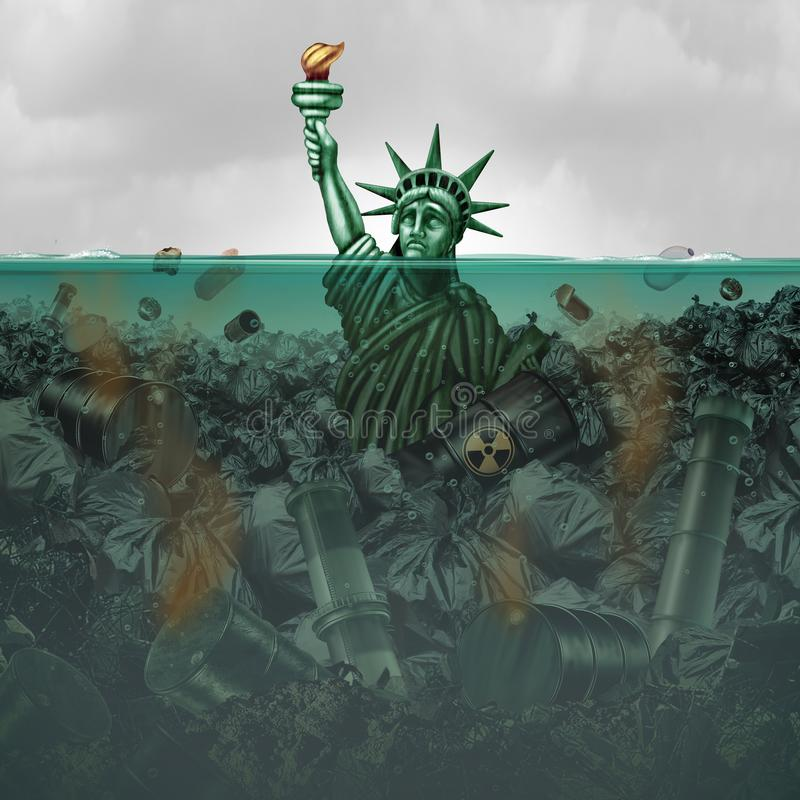 Pollution Crisis USA. And contaminated water in the United States as an american statue drowning in toxic water full of industrial waste with 3D illustration stock illustration