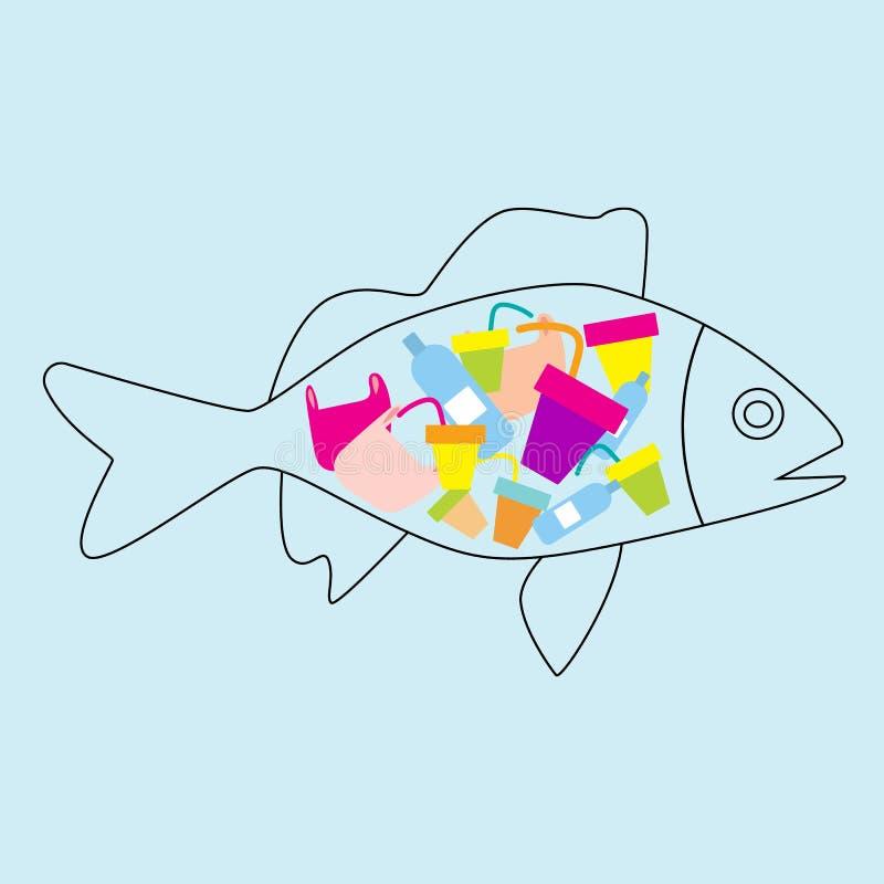 Pollution d'océan, protection de l'environnement Concept écologique - bouteille, sac et inscription pastic - ne dites non au plas illustration libre de droits