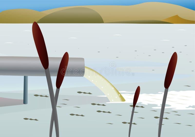 Pollution d'un lac illustration stock