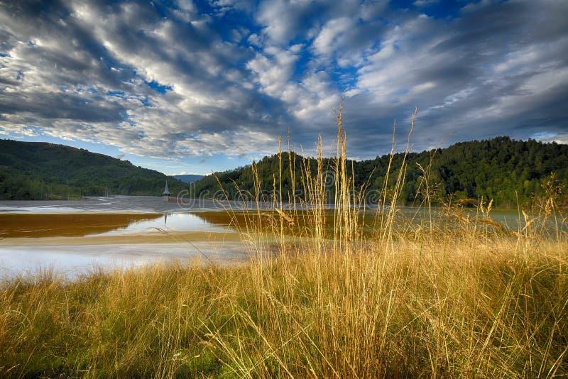 Pollution d'un lac avec de l'eau l'eau contaminée d'une mine d'or photo stock