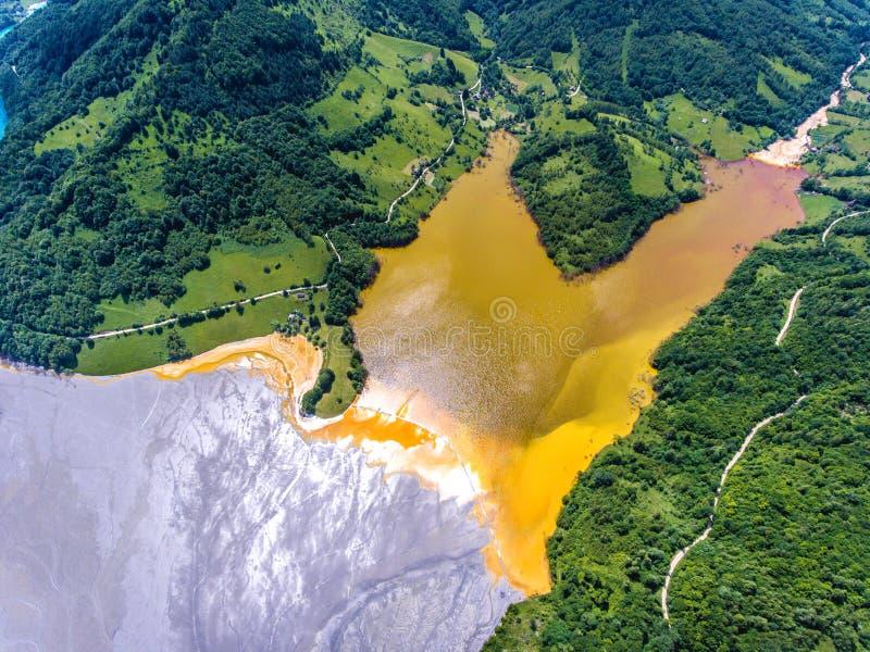 Pollution de cyanure au lac Geamana près de Rosia Montana photographie stock