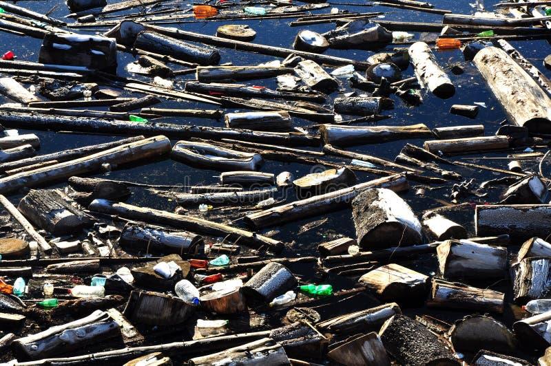 Pollution de l'eau dans un lac avec des déchets images libres de droits