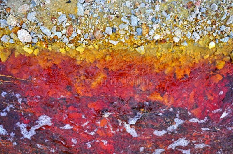 Pollution de l'eau souillée de mine d'une exploitation de mine de cuivre images stock