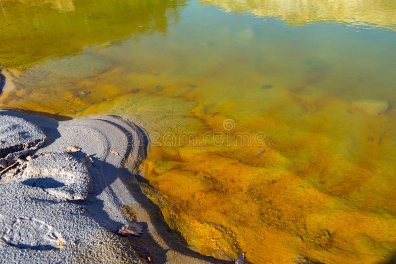 Pollution de l'eau souillée de mine images stock