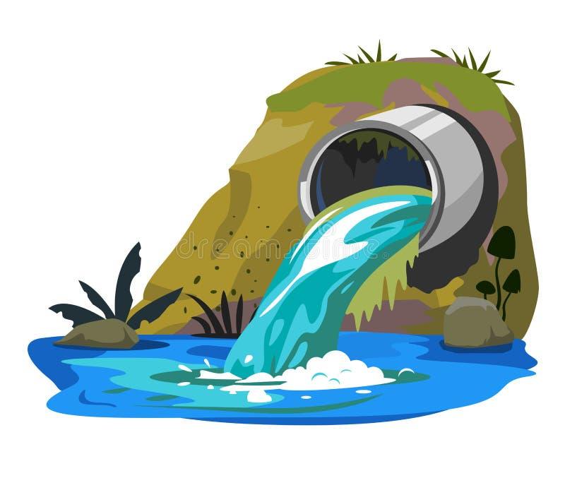 Pollution de l'eau de tuyau industriel illustration stock