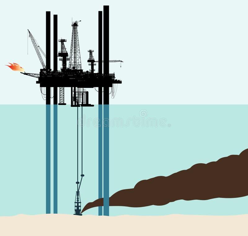 Pollution de mer profonde de pétrole illustration de vecteur