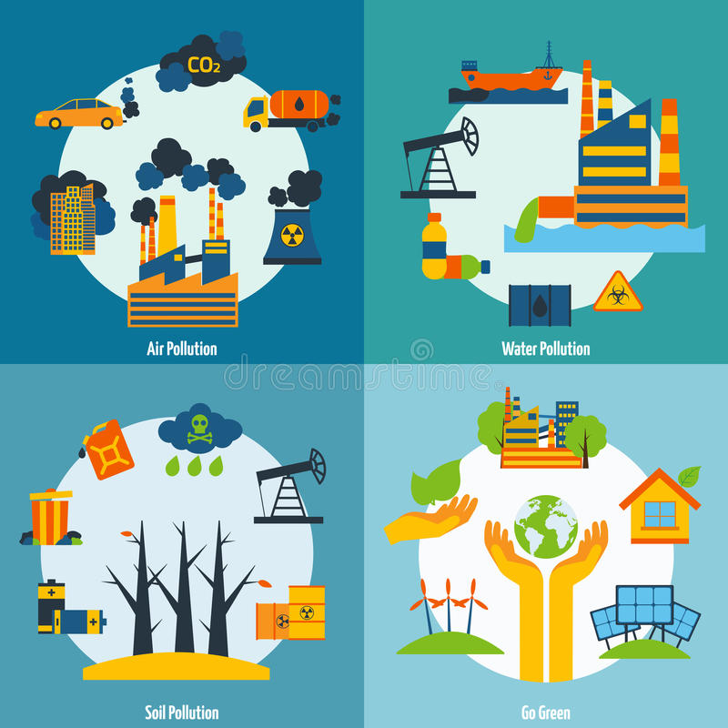 Pollution And Ecology Set. Ecology design concept set with air water and soil pollution flat icons vector illustration vector illustration