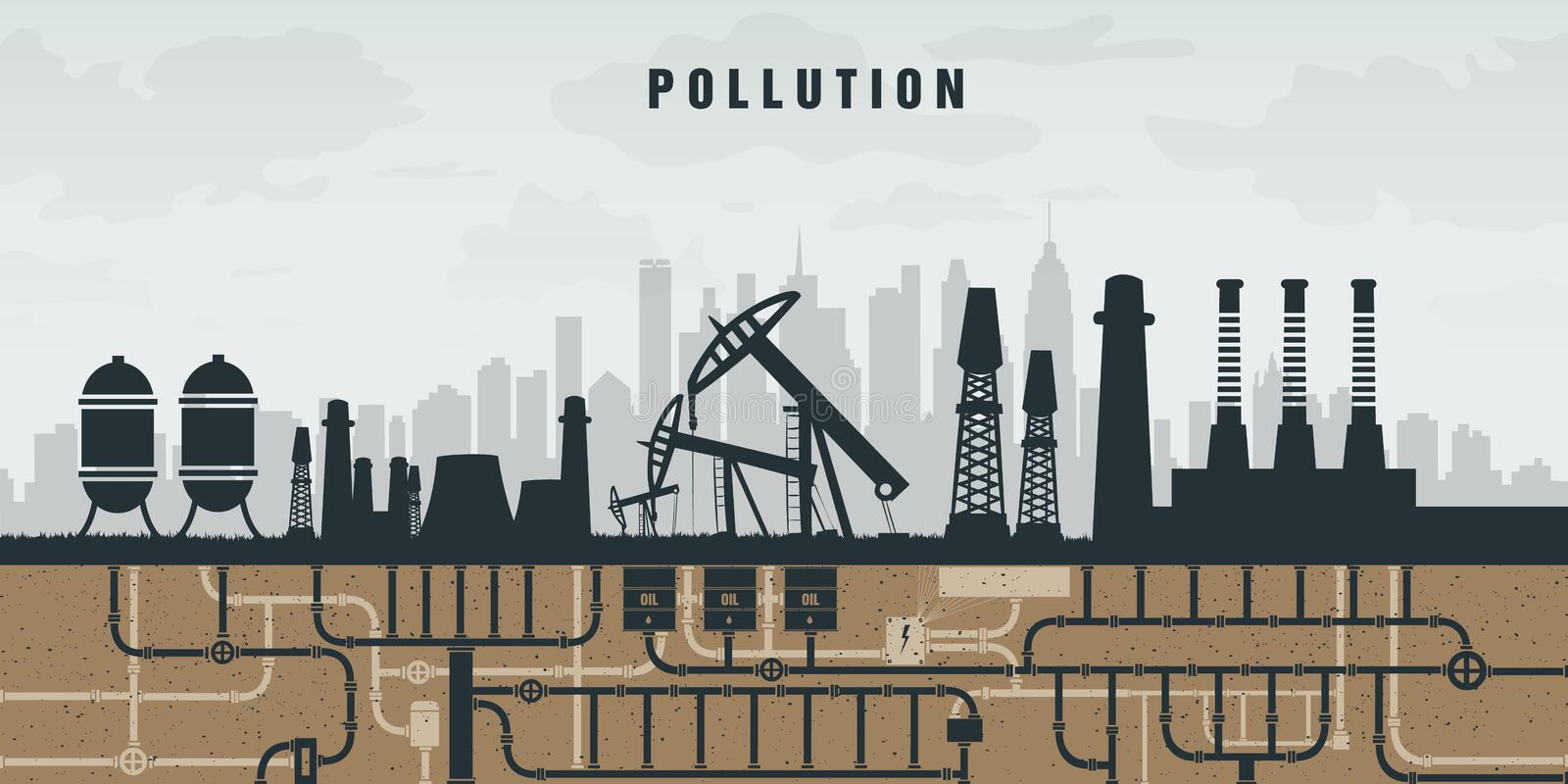 Pollution of the environment by plants, oil and vector illustration