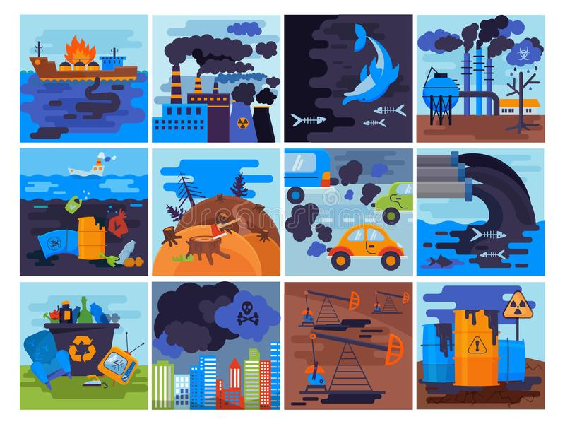 Pollution environment vector polluted air smog or toxic smoke of industrial city illustration cityscape set of vector illustration