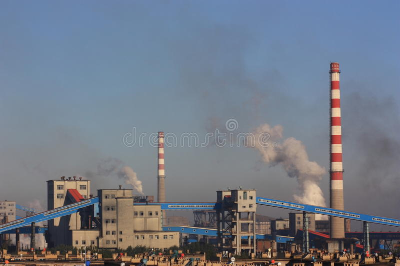 Pollution of factory stock photography