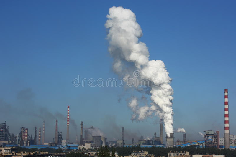 Pollution of factory royalty free stock photography