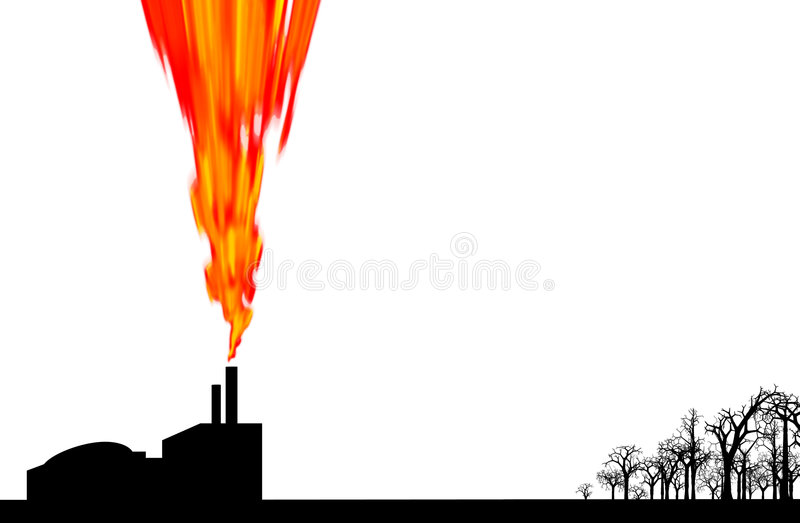 Pollution by factory stock illustration