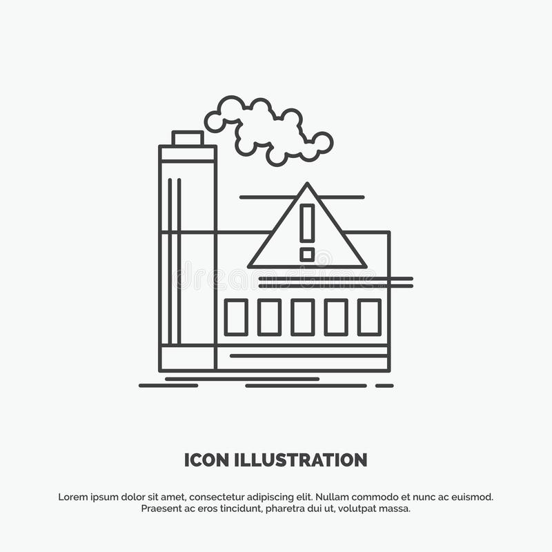 pollution, Factory, Air, Alert, industry Icon. Line vector gray symbol for UI and UX, website or mobile application stock illustration