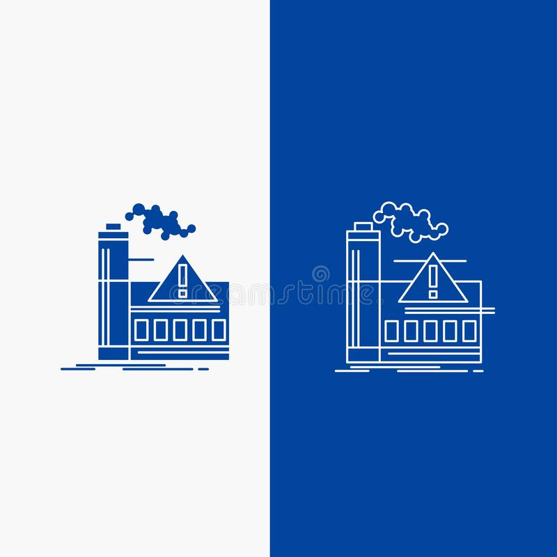 pollution, Factory, Air, Alert, industry Line and Glyph web Button in Blue color Vertical Banner for UI and UX, website or mobile royalty free illustration
