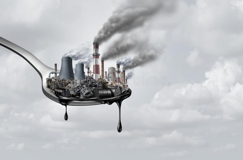 Pollution In Food. And toxic chemical eat,surreal,surrealistic,idea,contaminants that people ingest as a health and safety concept as a spoon with polluting vector illustration