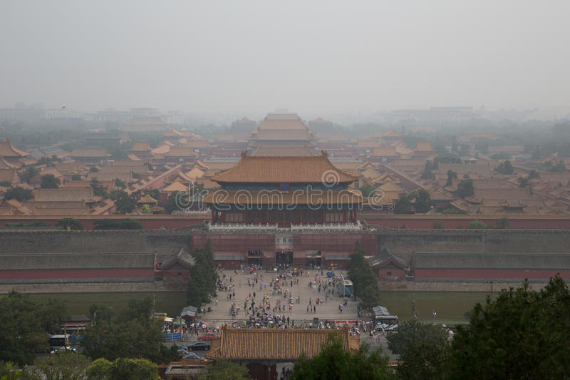 Pollution at the Forbidden Fity, Beijing, China stock photography