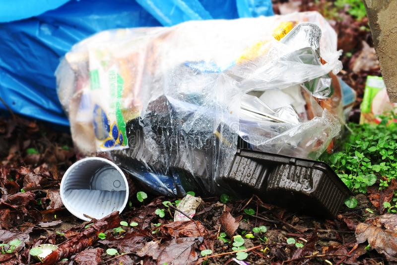 Pollution garbage in nature stock photo