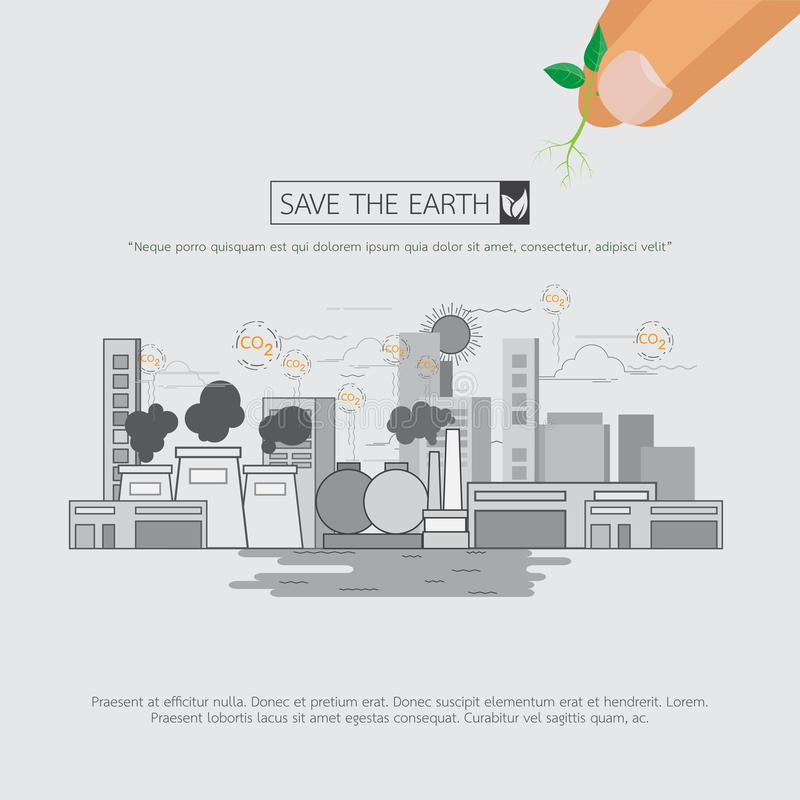 Without pollution of greenhouse effect. royalty free illustration