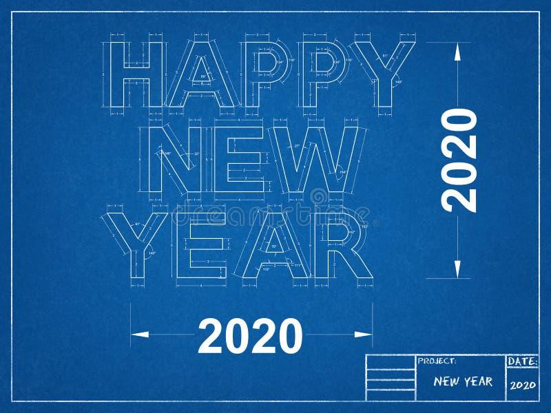 Happy Holidays 2020 BlueprintHappy New year 2020 - Blueprint stock illustration