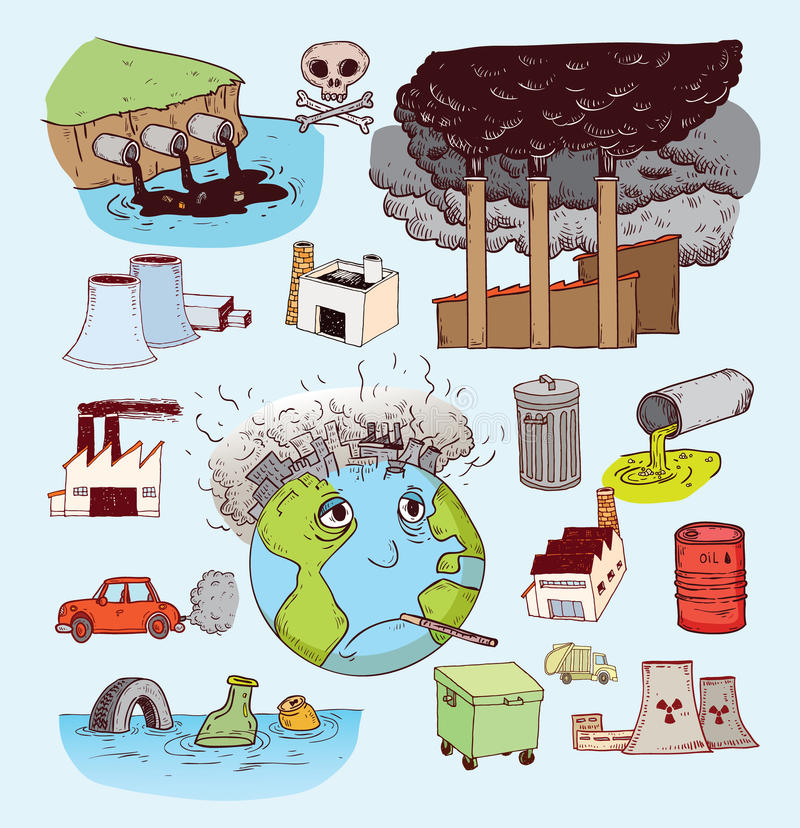 Pollution icon doodle set, hand drawn illustration stock illustration
