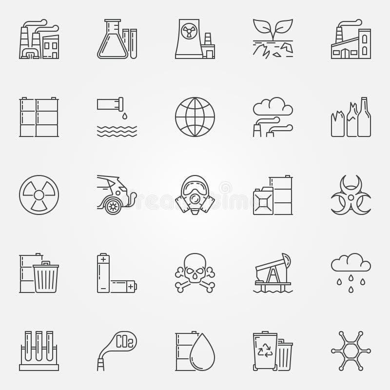 Pollution icons set royalty free illustration