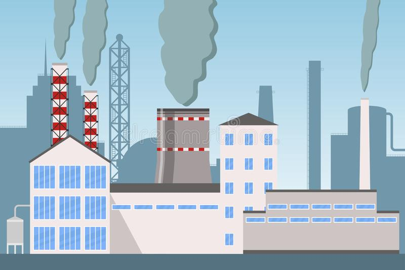 Pollution industrielle de cheminée d'usine d'industrie avec de la fumée, paysage industriel de ville avec des usines, usines et p illustration de vecteur