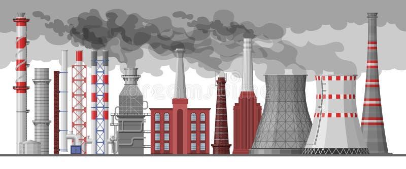 Pollution industrielle de cheminée de vecteur d'usine d'industrie avec de la fumée dans l'ensemble d'illustration d'environnement illustration libre de droits
