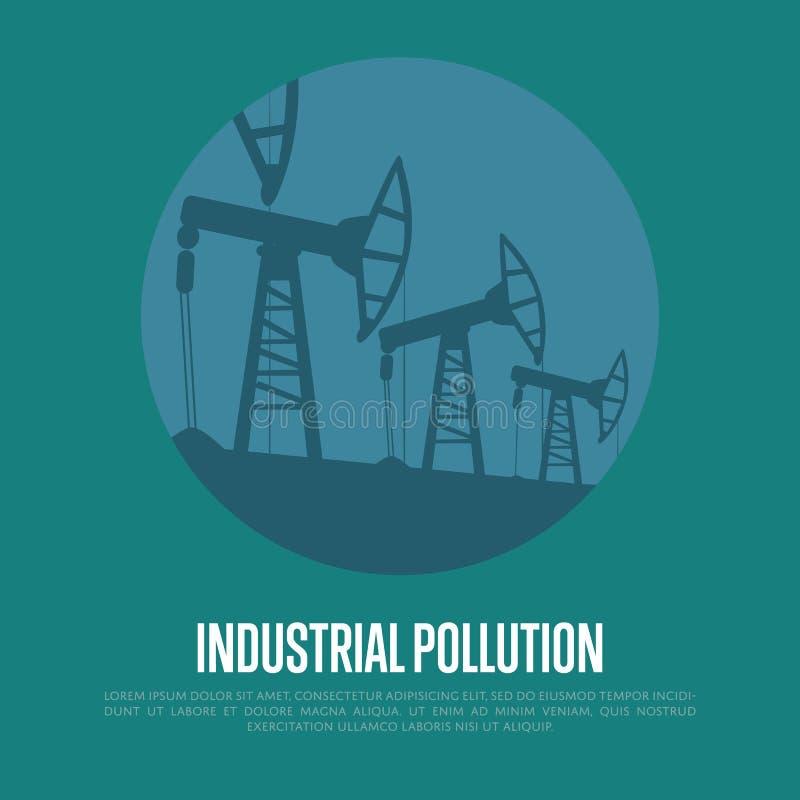 Pollution industrielle Industrie pétrolière equipment illustration libre de droits