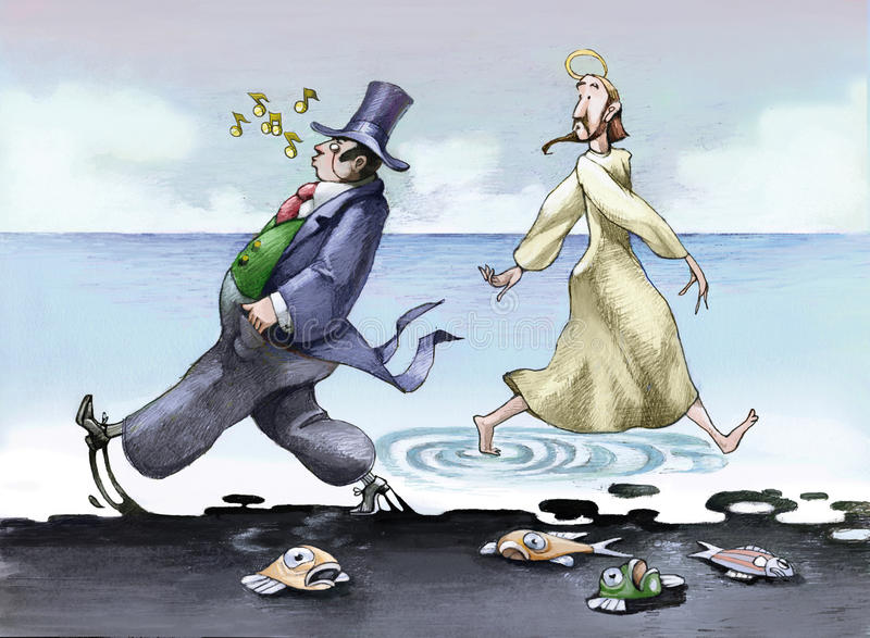 Pollution. Jesus walking on the water, a financier walking next to him but on an oil spill vector illustration
