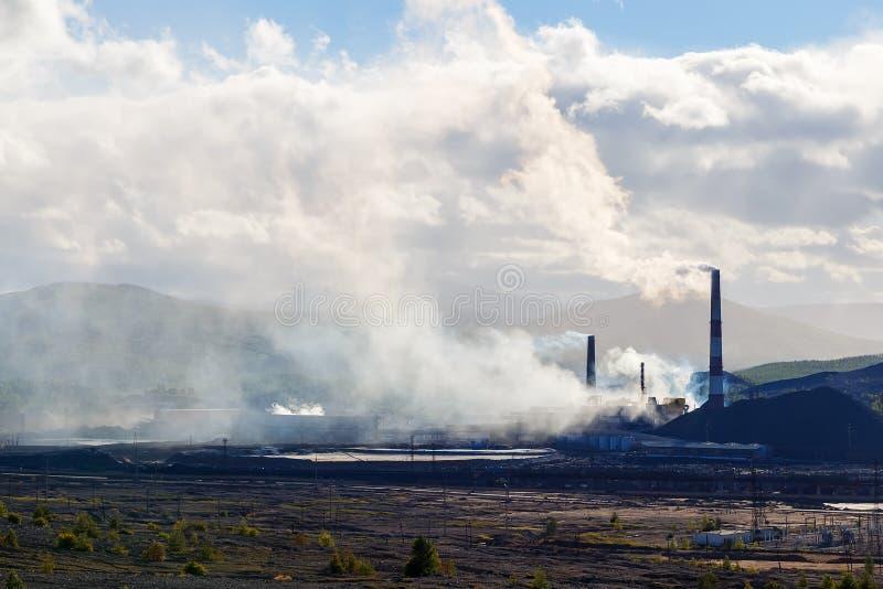 Pollution of nature ecology. Industrial landscape in Karabash, Chelyabinsk region, Russia. environmental disaster. Pollution of nature ecology. Industrial stock photo