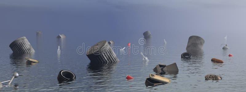 Pollution in the ocean - 3D render vector illustration