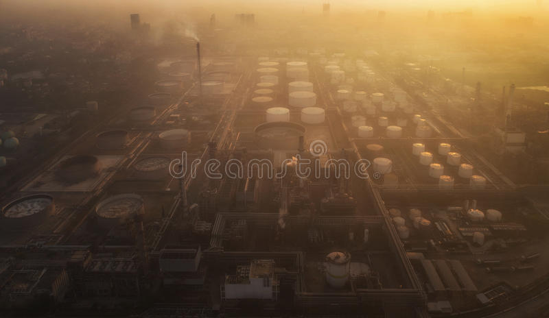 Pollution in oil refinery and chemical industry stock photography