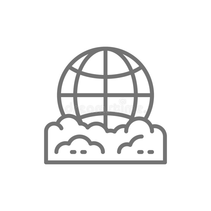 Pollution of the planet, globe garbage line icon. royalty free illustration