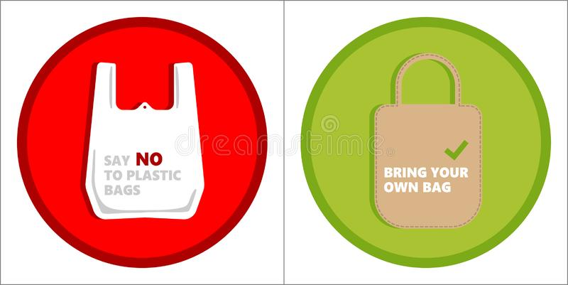 Pollution problem concept. Say no to plastic bags, bring your own textile bag. Cartoon styled images with signage calling stock photos