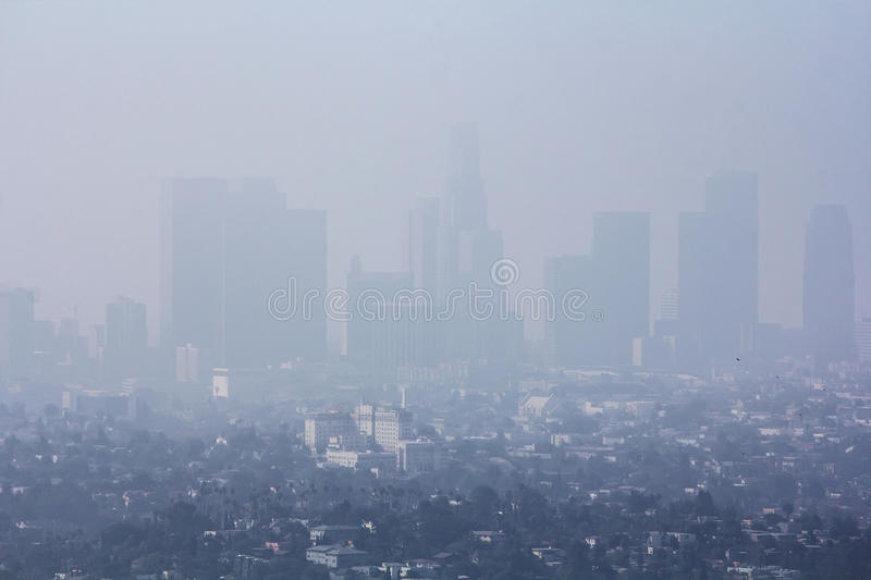 Pollution problem in urban area stock photo
