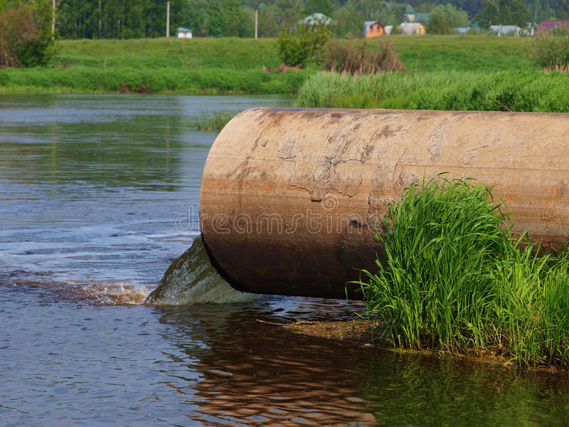 Pollution of river stock images