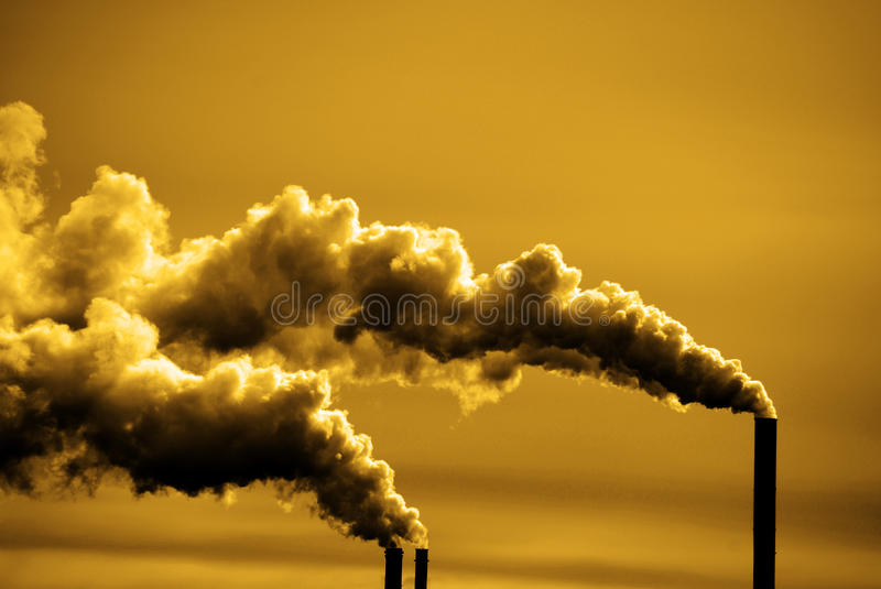 Pollution and Smoke from Chimneys of Factory or Power Plant stock image