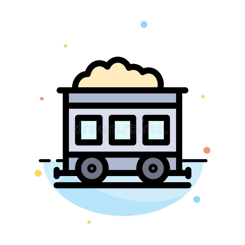 Pollution, Train, Transport Abstract Flat Color Icon Template stock illustration