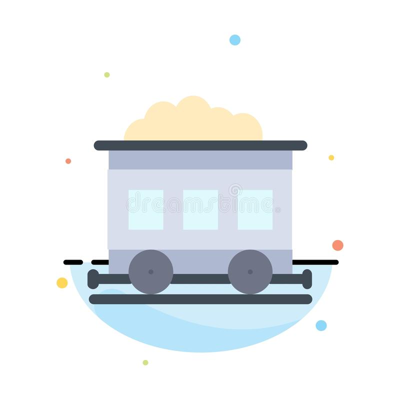 Pollution, Train, Transport Abstract Flat Color Icon Template vector illustration
