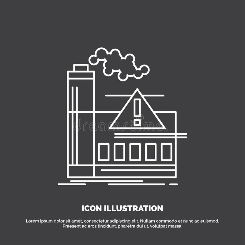 pollution, usine, air, alerte, ic?ne d'industrie Ligne symbole de vecteur pour UI et UX, site Web ou application mobile illustration libre de droits